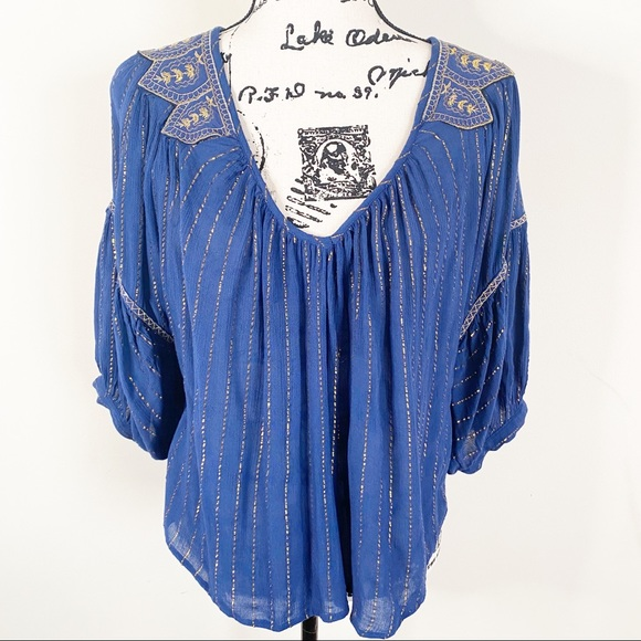 Amuse Society Boho Embroidered Top Size Small